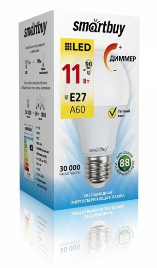 Лампа светодиодная SMART BUY A60-11W-220V-3000K-E27 (диммер, теплый свет)
