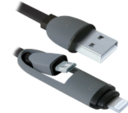 Кабель USB 2.0 -> micro USB + Apple 8-pin, 2в1, 1м DEFENDER