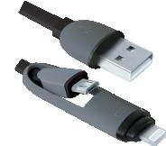 Кабель USB 2.0 -> micro USB + Apple 8-pin, 2в1, 1м DEFENDER