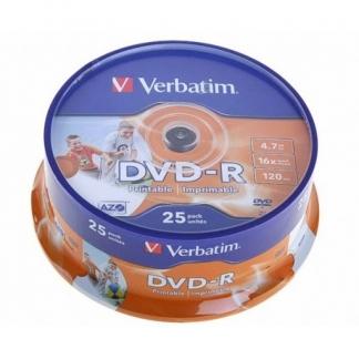 Verbatim DVD-R диски 4,7GB 16X CB/25 Full Ink printable