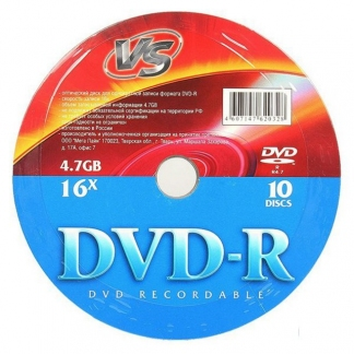 Диски VS DVD-R 4,7GB 16X Shrink/10