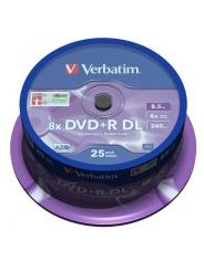 Диски двухслойные Verbatim DVD+R DL 8,5GB 8X CB/25 Double layer