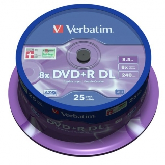 Диски двухслойные Verbatim DVD+R DL 8,5GB 8X CB/25 Double layer