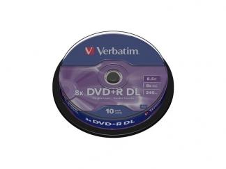 Двухслойные диски Verbatim DVD+R DL 8,5GB 8X CB/10