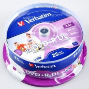 Диски двухслойные Verbatim DVD+R DL 8,5GB 8X CB/25 Full ink printable