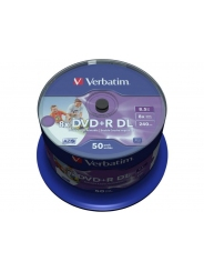 Диски двухслойные Verbatim DVD+R DL 8,5GB 8X CB/50 Full ink printable