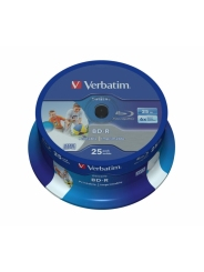 VERBATIM BD-R DATA LIFE 25 GB 6X CB/25 WHITE INKJET PRINTABLE NO ID