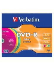 Verbatim DVD-R диски 4,7GB 16X Slim/5 color