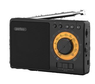 Perfeo радиоприемник аналоговый,всеволновый ЗАРЯ/ MP3/ питание 18650/черный(i10BK)