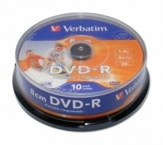Диск Verbtim DVD-R 8 cm 1,4GB 4X 30 min CB/10 printable