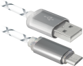 Кабель USB 2.0 -> micro USB 5P, 1м, DEFENDER, LED