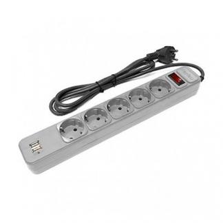 Perfeo cетевой фильтр, 1,8м, 5 розеток, 2 USB