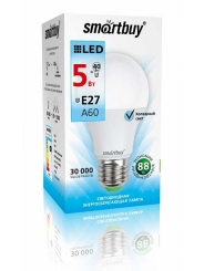 Лампа светодиодная SMART BUY A60-5W-220V-4000K-E27 (белый свет)