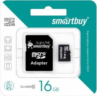 MicroSD 16GB  Smart Buy Class 10 +SD адаптер