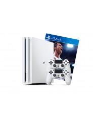 PlayStation 4 Pro 1Tb 2 джойстика, белая приставка и игра FIFA 18