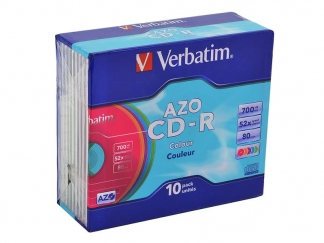 Verbatim CD-R диски 700MB 52X Slim/10 AZO COLOR