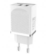 Зарядное устр. 220V - 2xUSB 2.4A HOCO C43A, 12W, белый (C43A white)