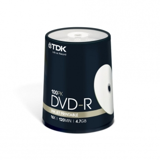 Диски TDK DVD-R 4.7 GB 16x CB/100 Full ink printable