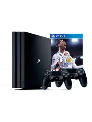 PlayStation 4 Pro 1Tb игровая приставка с 2 джойстиками и игрой FIFA 18