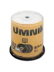 Диски (болванки) UMNIK DVD+R DL 8,5Gb 8x Printable cake box 100