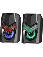 Колонки 2.0 DEFENDER 6Вт, Solar 1, подсветка, USB, черный (65401)