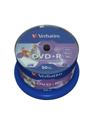 Verbatim DVD+R диски 4,7GB 16X Cake/50 full ink printable