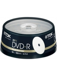 Диски TDK DVD-R 4,7GB 16X CB/25 Ink printable