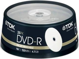 Диски TDK DVD-R 4,7GB 16X CB/25 Ink printable
