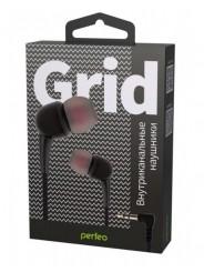 Perfeo наушники внутриканальные GRID черные силиконовый провод