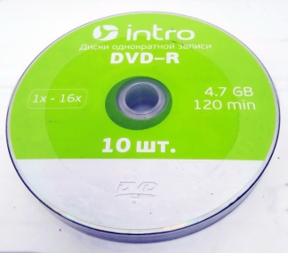 Intro диск DVD-R 4,7GB 16X SHRINK/10