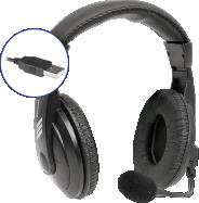 Стереогарнитура накладная DEFENDER Gryphon 750U, USB, черный, 1.8м