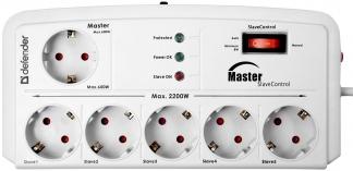 Сетевой фильтр Defender DFS 801 2 м, 6 розеток, Master Slave