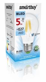 Лампа светодиодная SMART BUY A60-5W-220V-4000K-E27 FIL (белый свет)