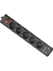 Сетевой фильтр DFS 751 1,8 м, 5 розеток, 2xUSB, 2.1A