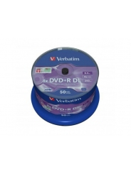 Диски двухслойные Verbatim DVD+R DL 8,5GB 8X CB/50 Double layer