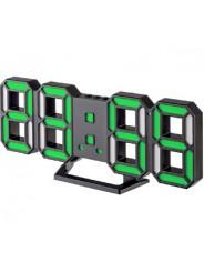 "Perfeo LED часы-будильник ""LUMINOUS 2"", чёрный корпус / зелёная подсветка (PF-6111)"