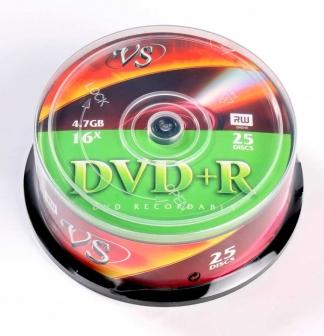Диски VS DVD+R 4,7GB 16X Cake/25