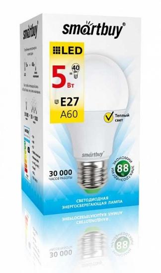 Лампа светодиодная SMART BUY A60-5W-220V-3000K-E27 (тёплый свет)