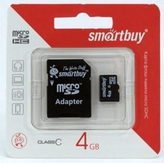 MicroSD  4GB  Smart Buy Class 4 +SD адаптер